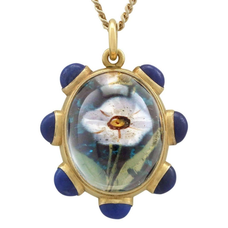 1890s Rock Crystal Lapis Lazuli 18 Karat Yellow Gold Pendant by 'Garrard' For Sale