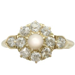 1900s Pearl 1.15 Carat Diamond 18 Karat Yellow Gold Cluster Ring