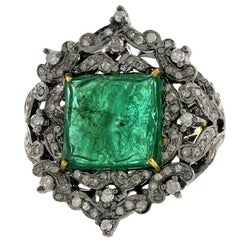 Carved Emerald Ring with Diamonds