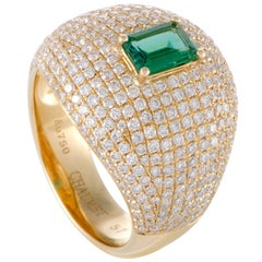 Chaumet Diamond Pave and Emerald Yellow Gold Ring