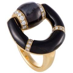 Gucci Horsebit Diamond Agate and Onyx Yellow Gold Ring