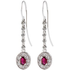 Kian Design 18 Carat White Gold 0.86 Carat Oval Ruby and Diamond Dangle Earrings