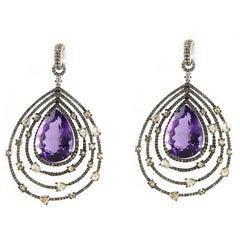 Amethyst Diamond Chandelier Earrings