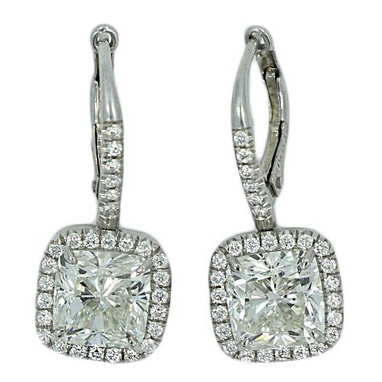 GIA Certified 4.04 Carat Cushion Cut Diamond Platinum Earrings