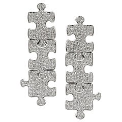 Akillis Puzzle Pendant Earrings 18 Karat White Gold White Diamonds