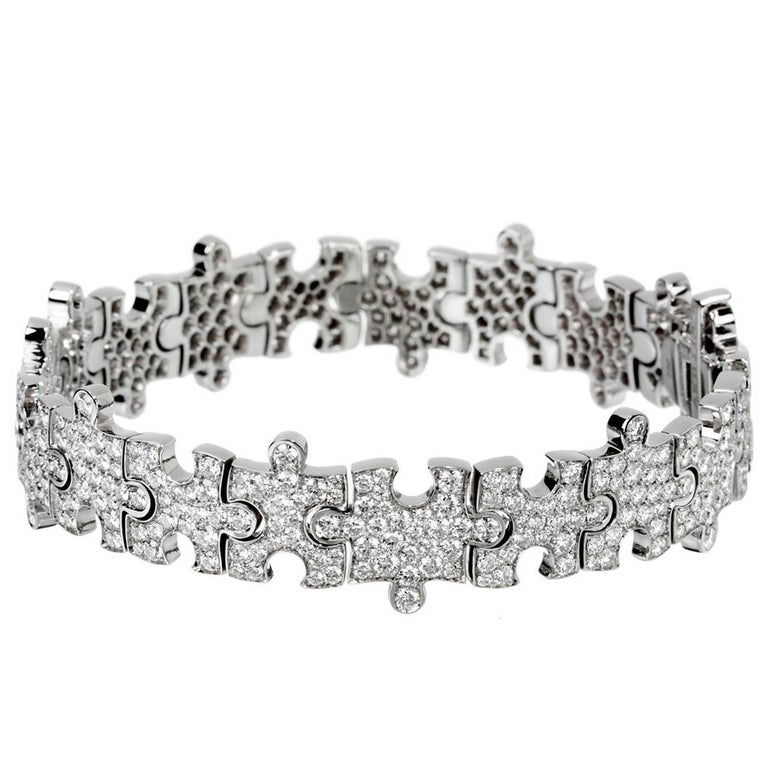 Akillis Puzzle Bracelet 18 Karat White Gold White Diamonds For Sale