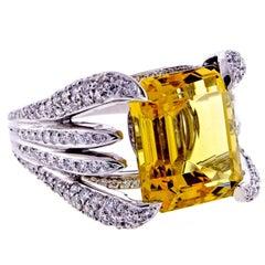 Verdura Heliodor and Diamond Ring