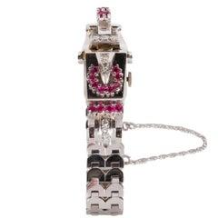 Retro White Gold Diamond Ruby Art Deco Bracelet Wristwatch, circa 1940