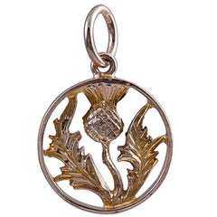 Gold Antique Scottish Thistle Charm
