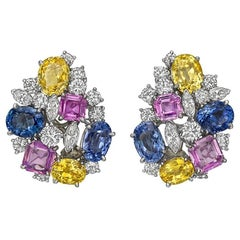 Oscar Heyman Multicolored Sapphire Diamond Cluster Earrings