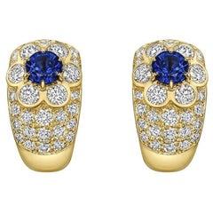 Van Cleef & Arpels Sapphire Diamond Yellow Gold Flower Earclips