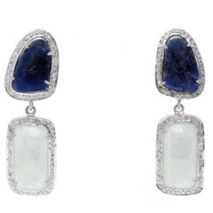 Natural Sapphire and Diamond Dangling Earrings