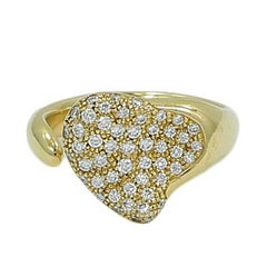 Tiffany & Co. Elsa Peretti Diamond Pave Heart Yellow Gold Ring