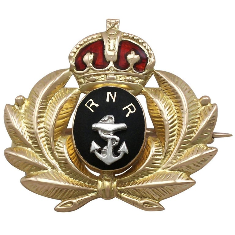 1930s Enamel and Yellow Gold 'Royal Navy Reserve' Brooch