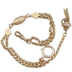 1890s Antique Yellow Gold Albertina Watch Chain