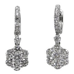 Diamond Dangle White Gold Earrings
