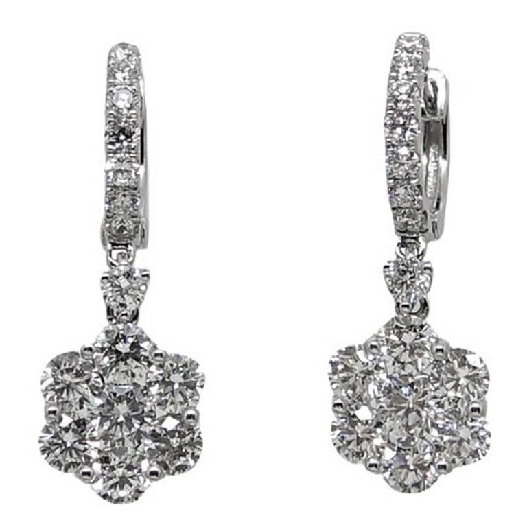 Diamond Dangle White Gold Earrings