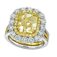 GIA Certified 5.01 Carat Fancy Yellow Cut-Cornered Rectangular Diamond Ring