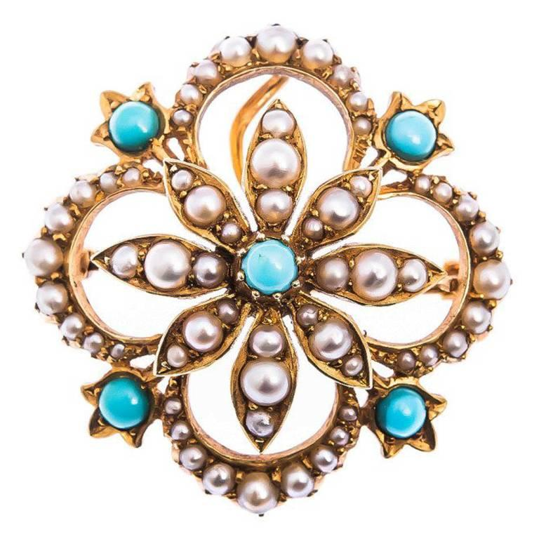 Antique Edwardian  Split Pearl and Turquoise Hair Pin and Brooch