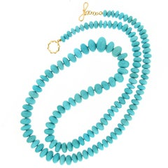 Rare Graduating Turquoise Rondelle Necklace