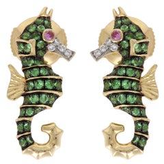 Yvonne Leon Contemporary Sea Horse Earrings