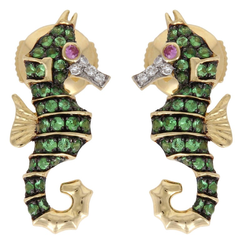 Yvonne Leon Contemporary Sea Horse Earrings For