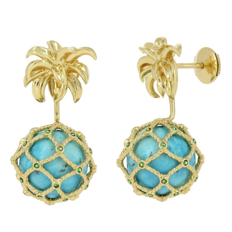 Yvonne Leon Contemporary Mini Pineapple Stud and Ear-Jacket For Sale