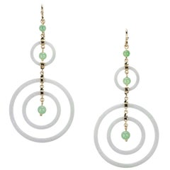 White and Green Jadeite Drop Earrings in 18 Karat Yellow Gold