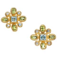 Maija Neimanis Peridot and Aquamarine Earrings in 22- and 18 Karat Yellow Gold