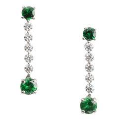 Tsavorite and Diamond Line Drop Earrings in Platinum