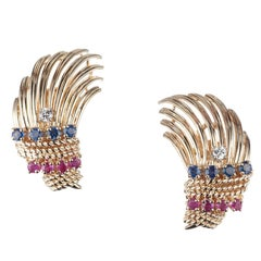 Palm Frond Sapphire and Ruby Earrings in 14 Karat Yellow Gold