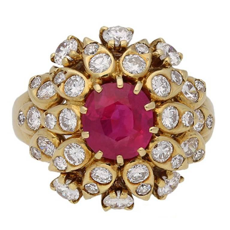 Van Cleef & Arpels Natural Burmese Ruby Diamond Ring, Circa 1960 For Sale