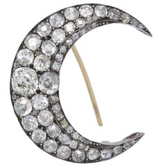 Antique Old Cut Diamond Gold Silver Crescent Brooch