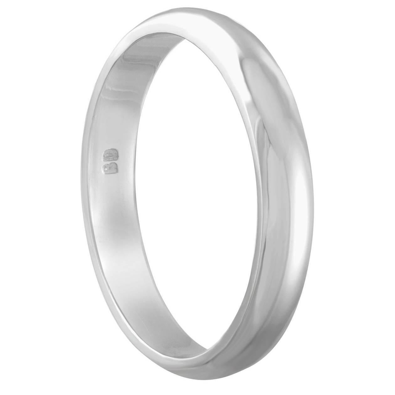 White Gold Wedding Band Ring Size 6.25