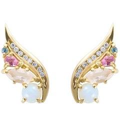 Daou Art Nouveau Style Opal Diamond Aquamarine Tourmaline Phoenix Wing Earrings