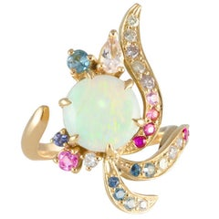 Daou Phoenix Ring, Art Nouveau Style in Opal, Diamonds, Gemstones and Gold