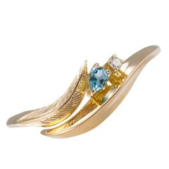 Daou Feather Ring, Art Nouveau Style in Gold, Diamond and Aquamarine