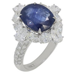 Blue Sapphire Pear and Oval Cut Diamond Ring