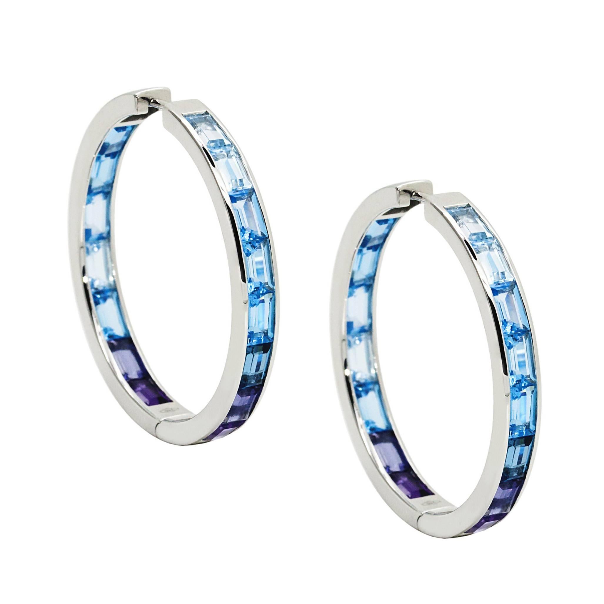 Daou Jewellery 18kt White Gold, Amethyst & Iolite Morning Hoop Earrings