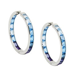 Daou Sunset Sunrise Hoop Earrings in Blues, White Gold Topaz, Amethyst, Iolite