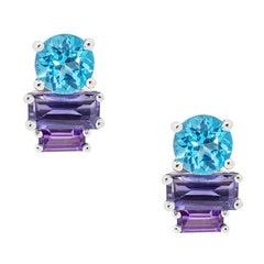 Daou Blue Light Art Deco Earrings, White Gold, Topaz, Amethyst, Iolite Gemstones