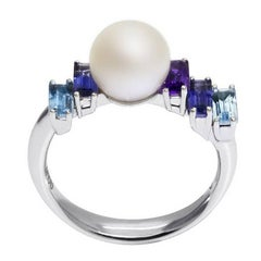 Daou Pearl Ring Modern Art Deco Style White Gold, Pearl, Amethyst, Topaz, Iolite
