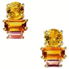Daou Golden Light Sunset Sunrise Earrings, Sapphire, Citrine, Tournmaline, Gold