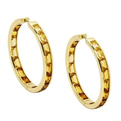 Daou Golden Light Hoop Earrings, Sunset Sunrise collection in Citrines, Gold