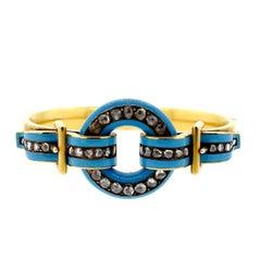 Victorian Powder Blue Enamel and Rose Cut Diamond Bangle Bracelet