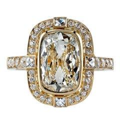 Cushion Cut Diamond Yellow Gold Engagement Ring
