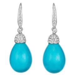 Vibrant Blue Arizona Turquoise and Diamond Drop Earrings