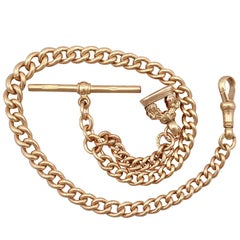 1912 Antique Yellow Gold Albert Chain with Seal Fob