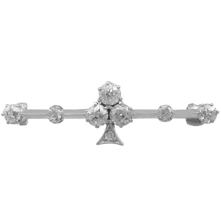 1900s Diamond and White Gold Bar Brooch