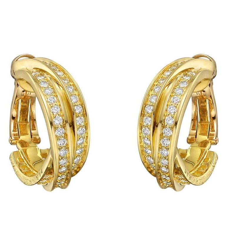 "Cartier Yellow Gold Diamond ""Trinity"" Hoop Earrings"